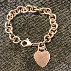 Tiffany&co link bracelet with heart tag